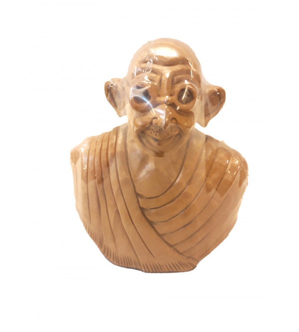 Kadamba Wood Handcrafted Carved Bust Of Mahatma Gandhi