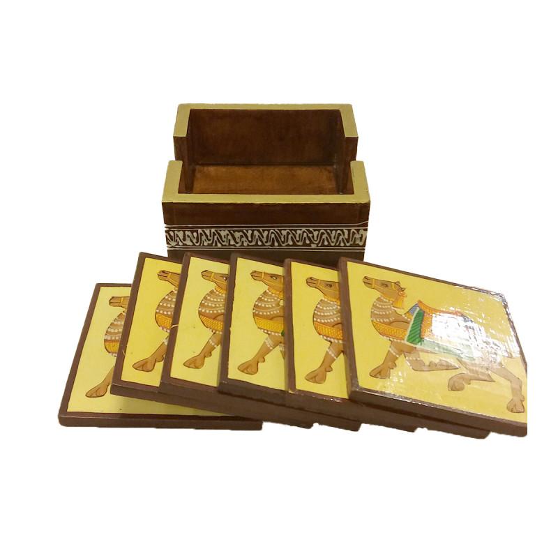 Kadamba wood Handcrafted and Hand painted Square Shaped Coaster Set