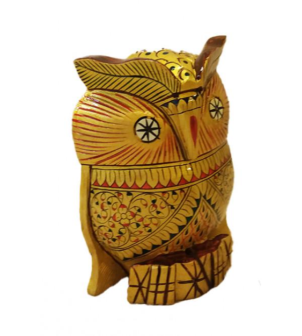 Kadamba wood Handcrafted and Hand painted Owl