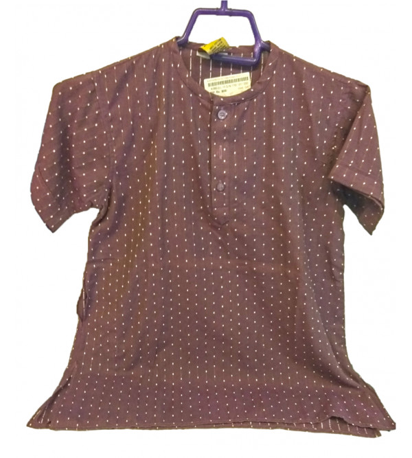 Cotton Plain Kurta With Thread Design For Boys Size 8 to 10 Year