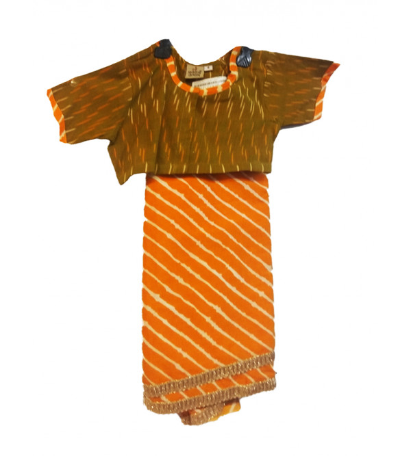 Cotton Leheriya Stitched Saree With Ikat Blouse Size 2 to 4 Year