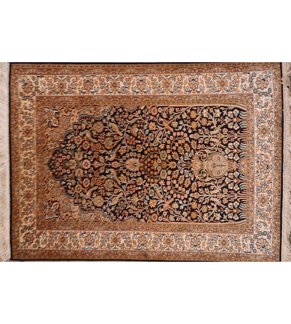 CARPET SILKSILK 212X4 ft 30X30 IVORY BASE Kashmir Carpet