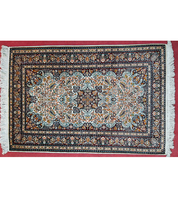CARPET SILKSILK 212X4ft 30X30 IVORY BASE kashmir carpet