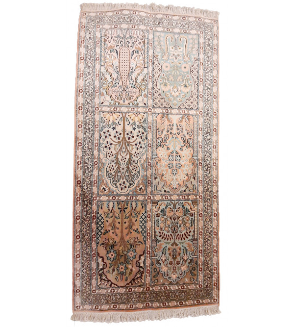 Kashmir Carpet Hand-knotted Silk x Cotton Size 2.5ftx5.5ft