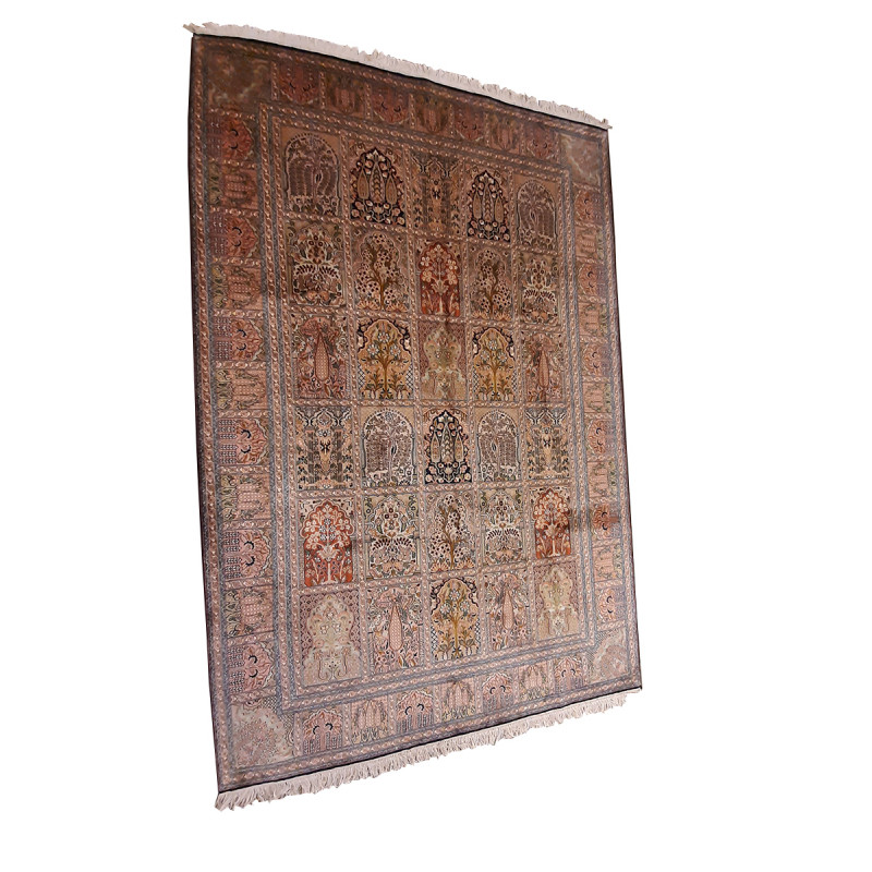 Kashmir Carpet Hand-knotted Silk x Cotton Size 6ftx9ft