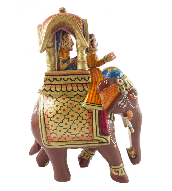 Ambari Elephant Handcrafted In Mango Wood Size 8 Inches