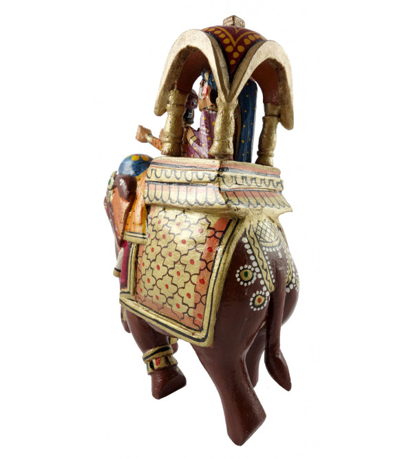 HANDICRAFT WOODEN AMBARI ELEPHANT 8 INCH