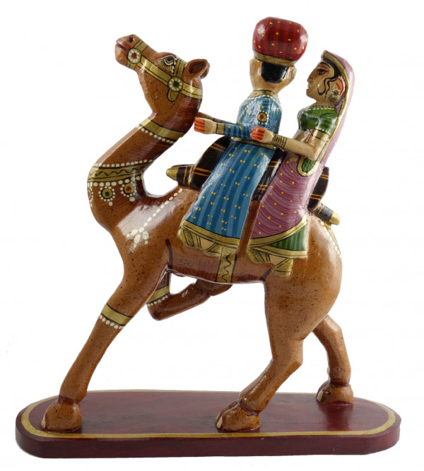HANDICRAFT WOODEN CAMEL PAINTING 10 INCH