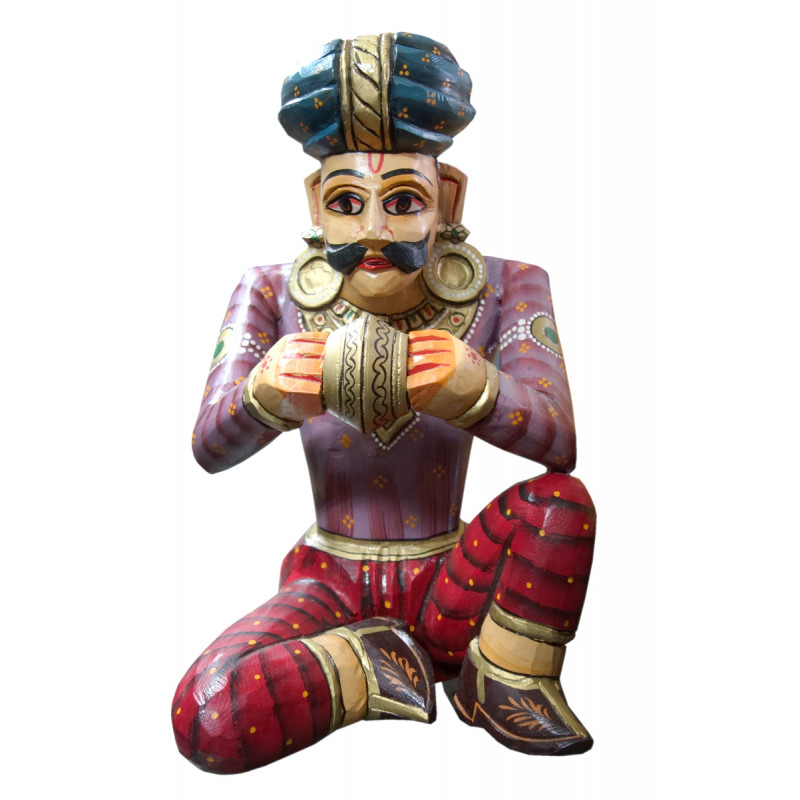 MUSICIAN WOODEN PAINTED 18 INCH  IN MANGO WOOD