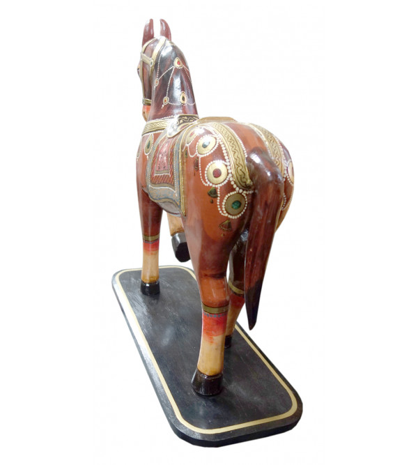 HORSE WOODEN PAINTED 24 INCH MANGO WOOD