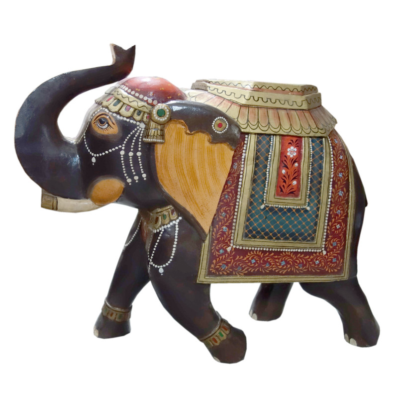 ELEPHANT WOODEN PAINTED 24 INCH MANGO WOOD