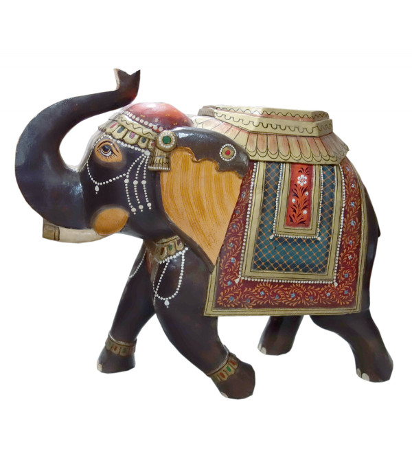 ELEPHANT WOODEN PAINTED 24 INCH MANGO WOOD