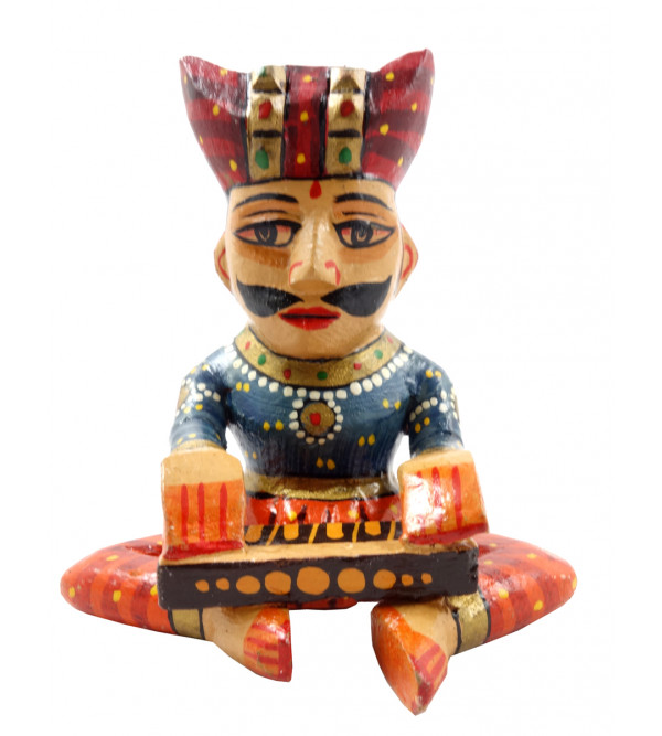 HANDICRAFT 4 INCH MUSICIAN PAINTED IN MANGO WOOD