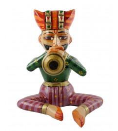 HANDICRAFT 6 INCH MUSICIAN  PAINTED IN MANGO WOOD