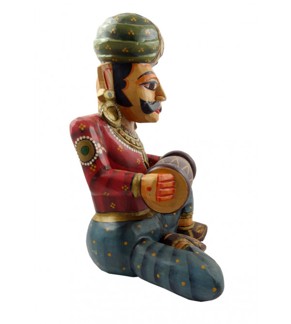 HANDICRAFT MUSICIAN WOODEN PAINTED 15 INCH IN MANGO WOOD