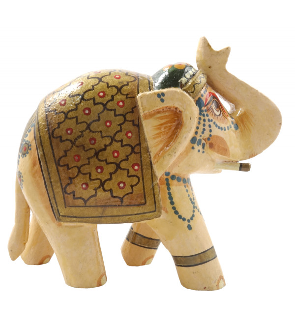 HANDICRAFT MANGO WOOD 4 INCH ELEPHANT PAINTED