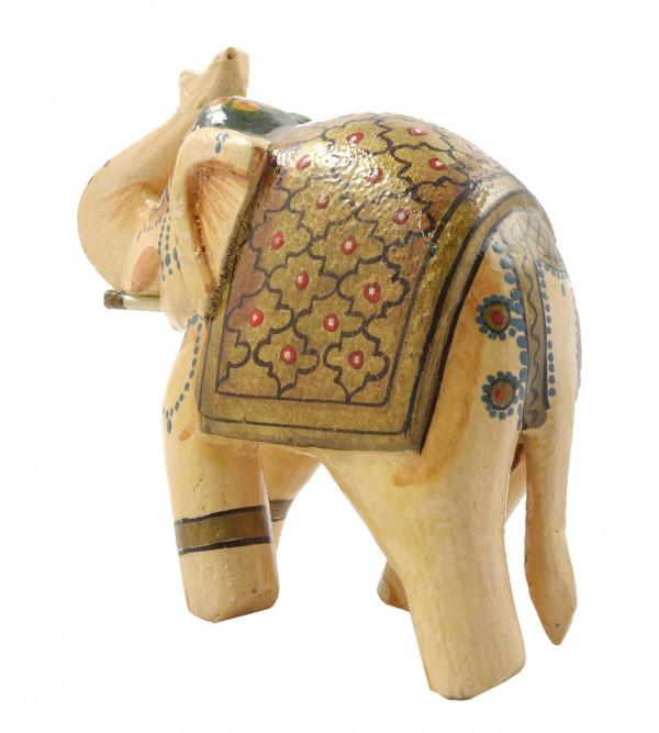 HANDICRAFT MANGO WOOD 4 INCH ELEPHANT PAINTED