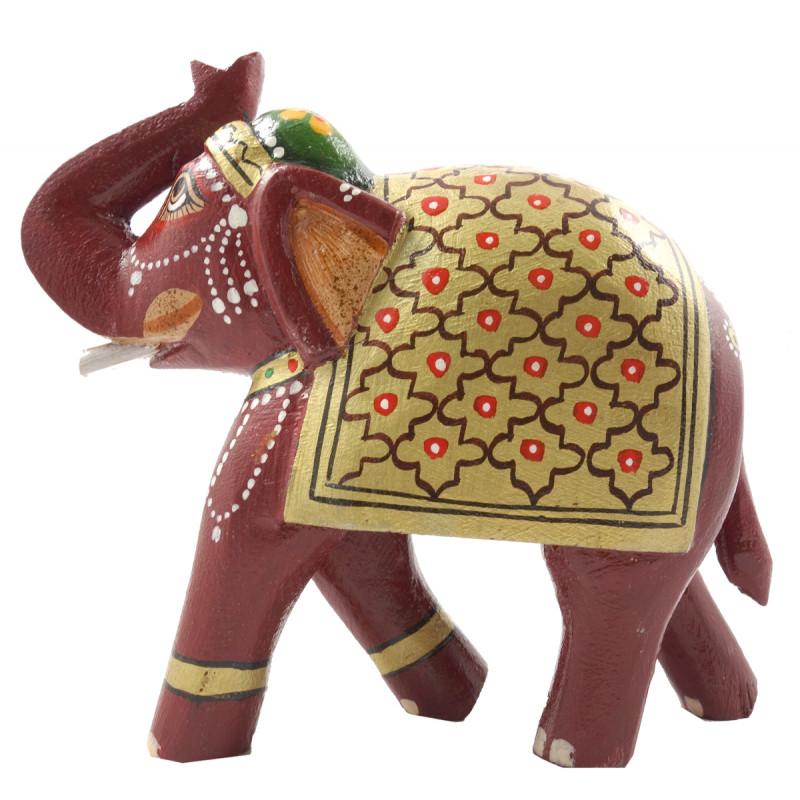 HANDICRAFT PAITNED MANGO WOOD 6 INCH ELEPHANT