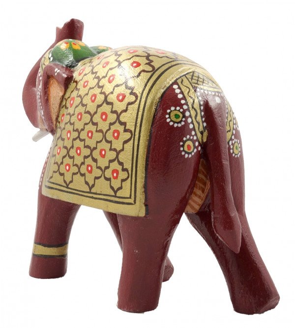 HANDICRAFT PAITNED MANGO WOOD 6 INCH ELEPHANT