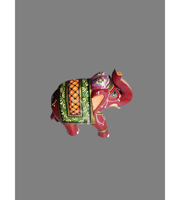 Wooden Hand Painted Standing Elephant