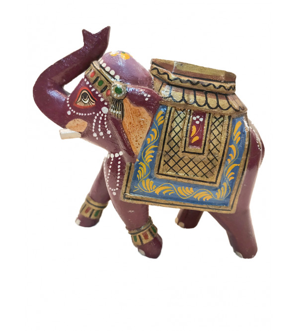 Wooden Hand Painted Standing Elephant Size 7 Inches