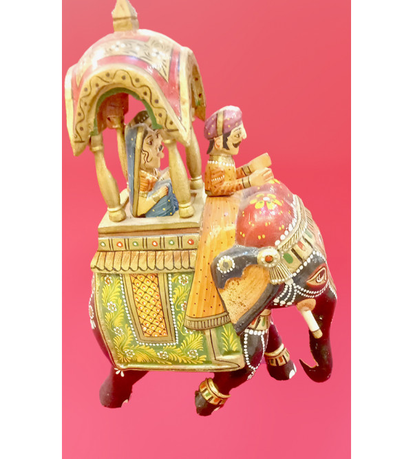 Ambari Elephant Handcrafted In Mango Wood Size 10 Inches
