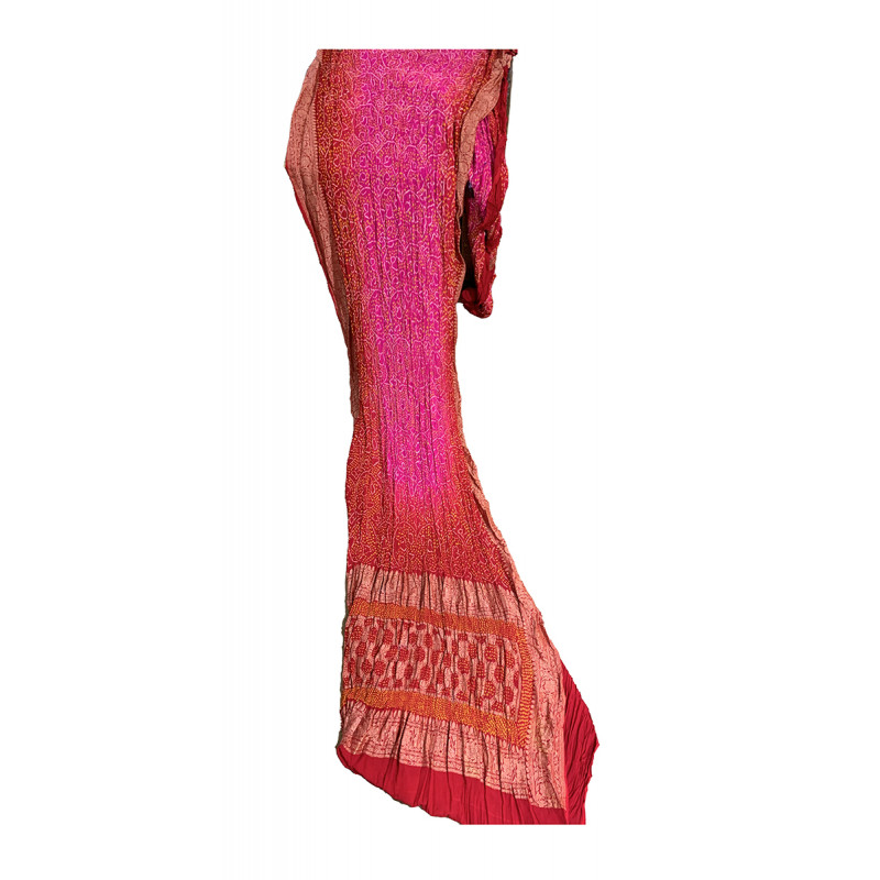 Tie-Dye  Silk Hand Woven Saree With Blouse