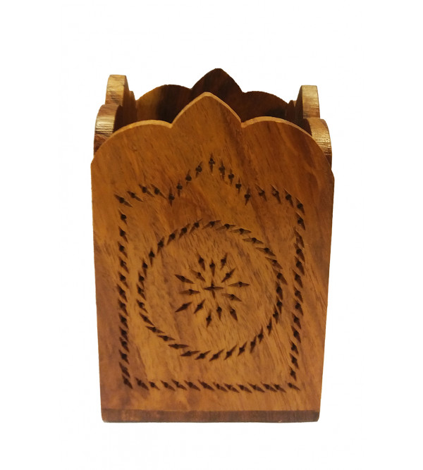 HAND CRAFTED PEN STAND WOODEN 4�3 INCH