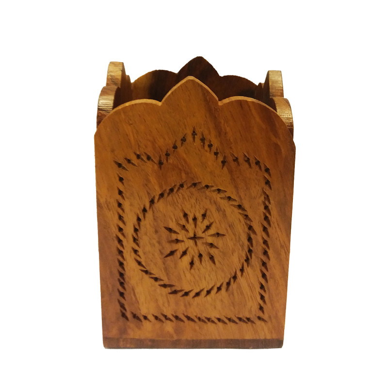 Wooden Handcrafted Pen Stand