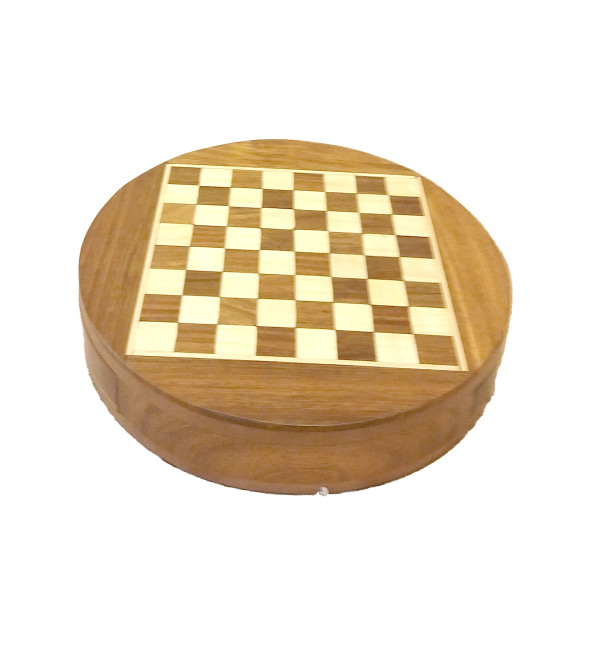 CHESS BOARD DRAWER ROUND SHEESHAM WOOD MAGNET 6 INCH  diameter