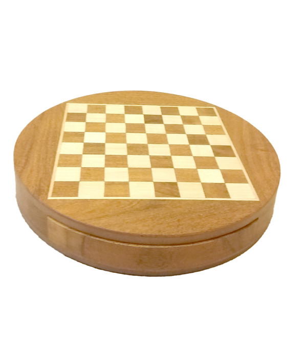 CHESS BOARD DRAWER ROUND SHEESHAM WOOD MAGNET 9 INCH diameter