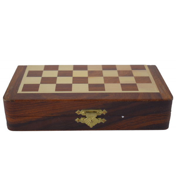 CHESS BOARD FOLDING  SHEESHAM WOOD 7 inch magnetic