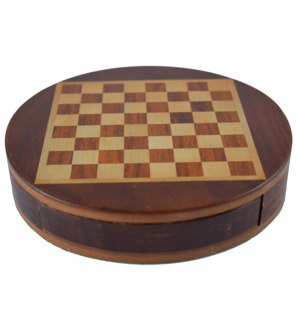 CHESS BOARD DRAWER MAGNATE SHEESHAM WOOD 9 inch round flat magnetic