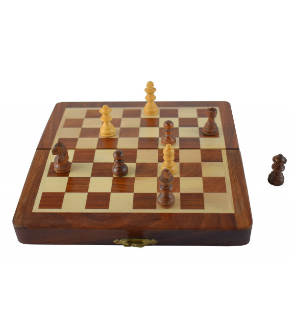 CHESS BOARD FOLDING SHEESHAM WOOD MAGNET 7 INCH