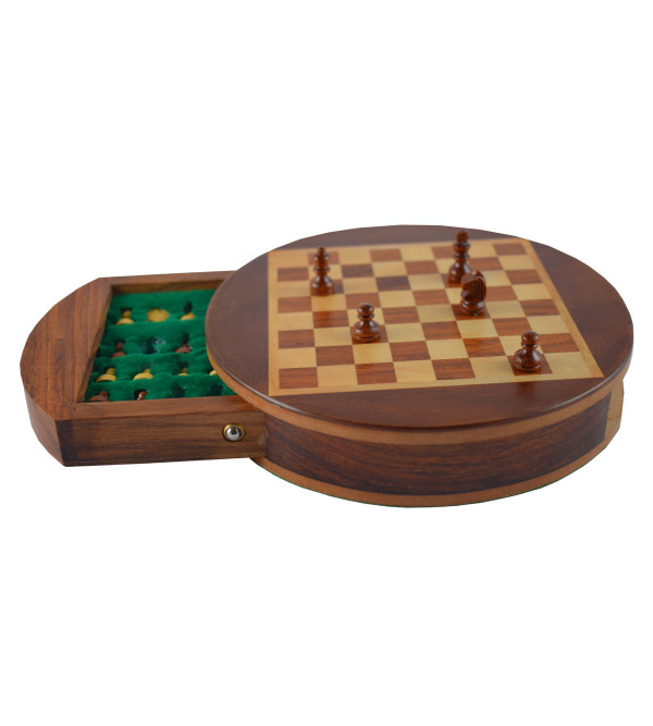 CHESS BOARD DRAWER ROUND SHEESHAM WOOD MAGNET 9 INCH