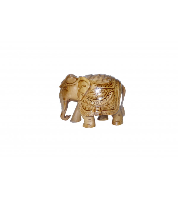 KADAM WOOD ELEPHANT CARVED 3 INCH