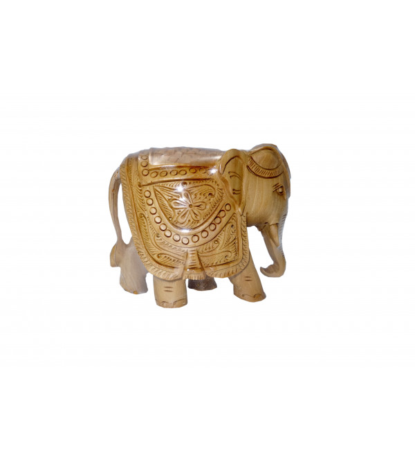 KADAM WOOD ELEPHANT CARVED 4 INCH