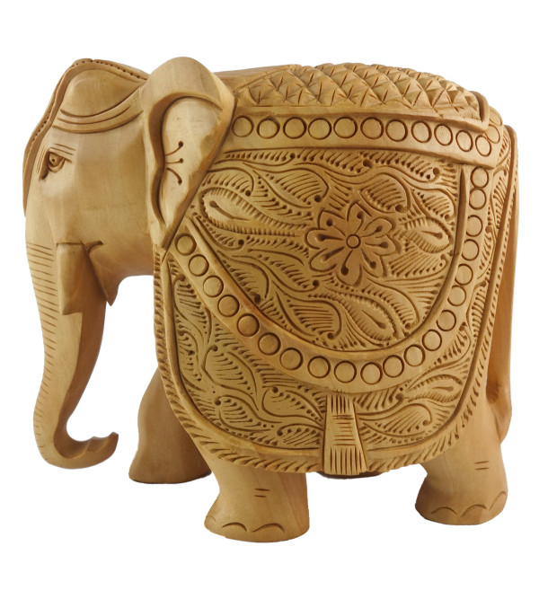 KADAM WOOD ELEPHANT CARVED 6 INCH