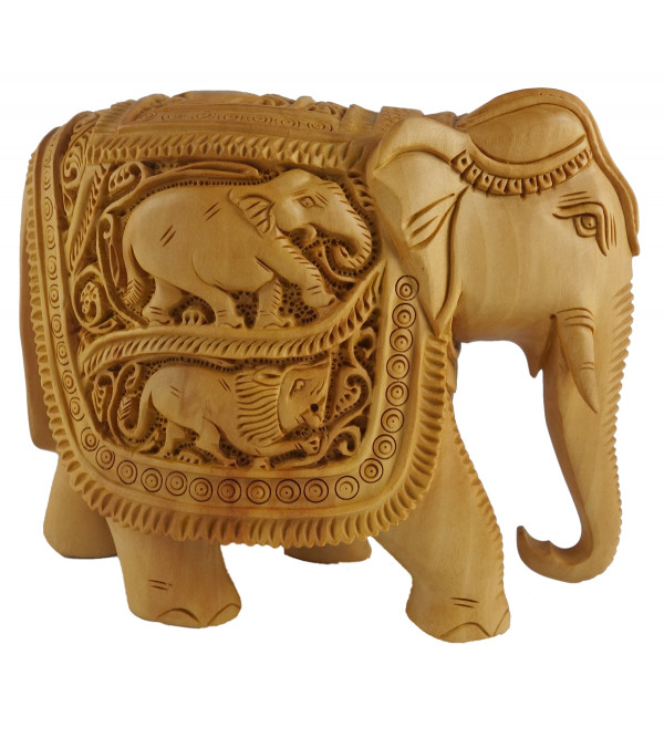 KADAM WOOD ELEPHANT DEEP CARVED 6 INCH