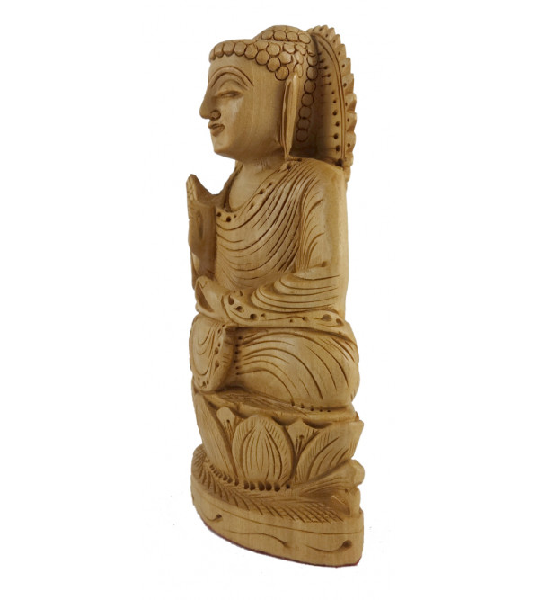 GOD FIGURE SITTING FINE CARVED KADAM WOOD 5 INCH