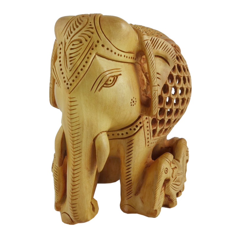 Kadamba Wood Handcrafted Carved Elephant with Baby Elephant and Undercut Design