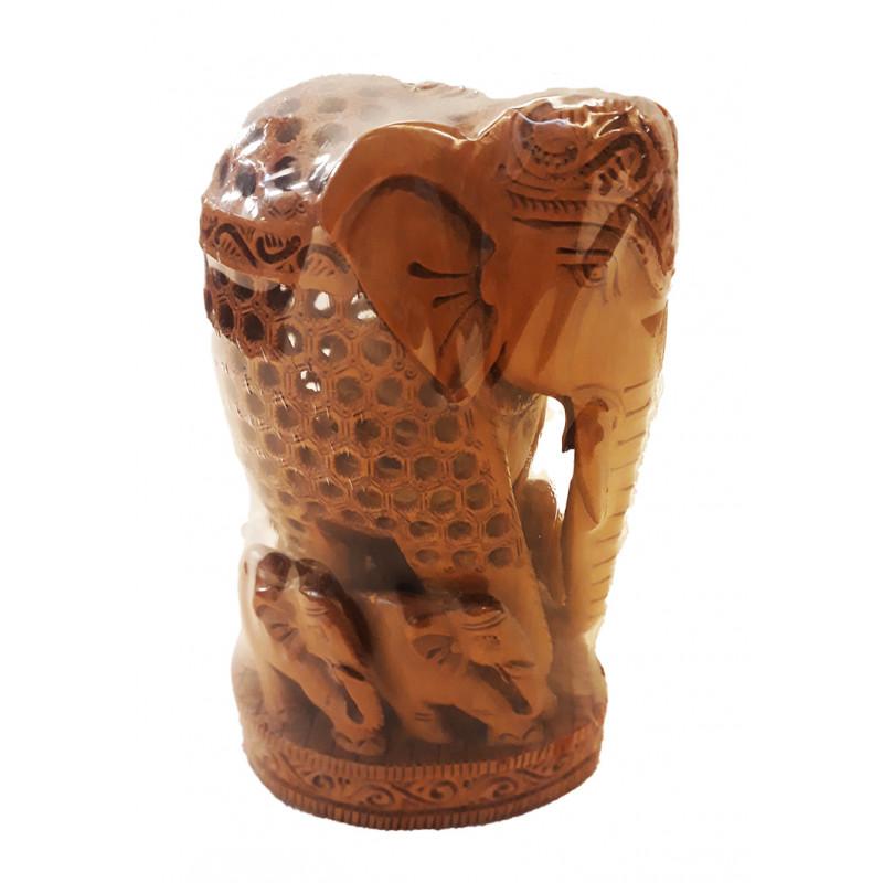 Sandalwood Handcrafted Carved Elephant with Baby Elephant ( Jaali Work )