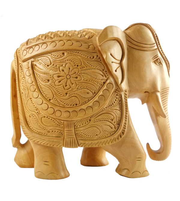 HANDICRAFT KADAM WOOD ELEPHANT CARVED 5 INCH