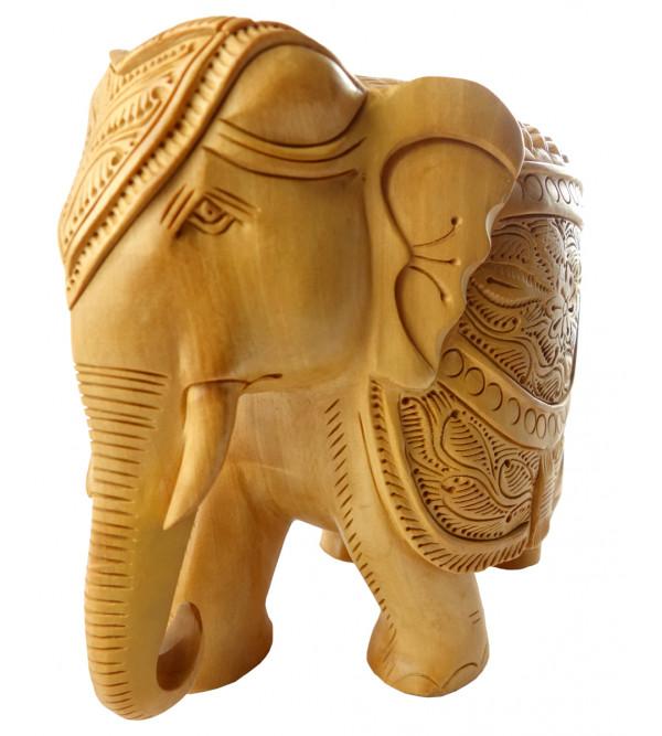 KADAM WOOD ELEPHANT CARVED 6 INCH