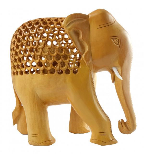 HANDICRAFT KADAM WOOD ELEPHANT UNDERCUT 4 INCH