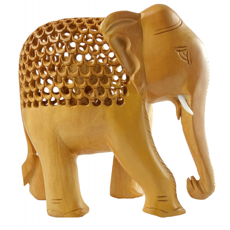 HANDICRAFT KADAM WOOD ELEPHANT UNDERCUT 6 INCH