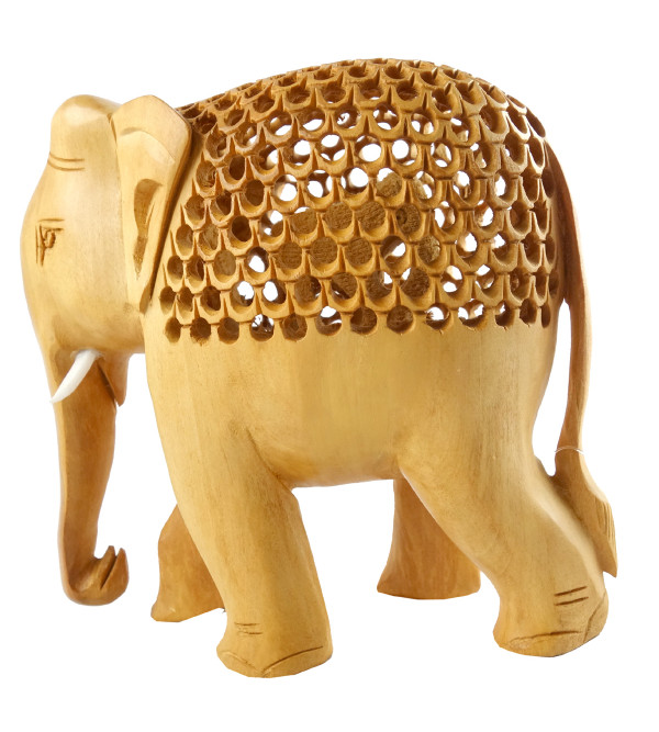 HANDICRAFT KADAM WOOD ELEPHANT UNDERCUT 6 INCH