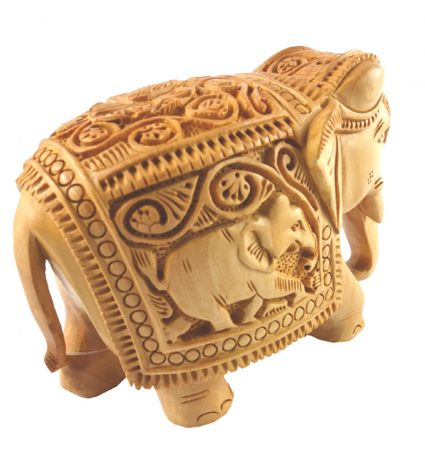 HANDICRAFT KADAM WOOD ELEPHANT DEEP CARVED 3 INCH