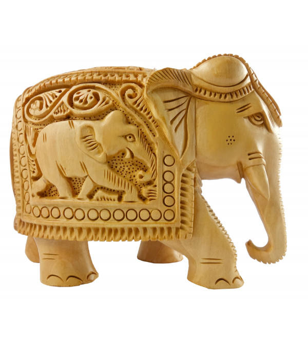 KADAM WOOD ELEPHANT DEEP CARVED 4 INCH
