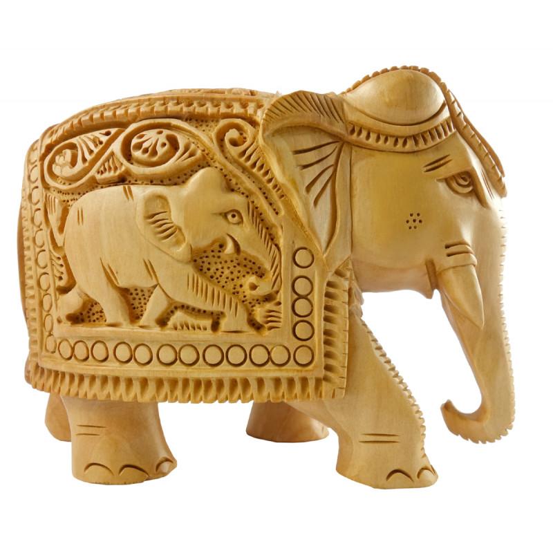 KADAM WOOD ELEPHANT DEEP CARVED 4 INCH